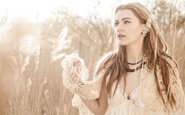Download wallpapers Emmelie de Forest, Danish singer, 4k, portrait, white dress, winner of Eurovision, autumn, photo shoot