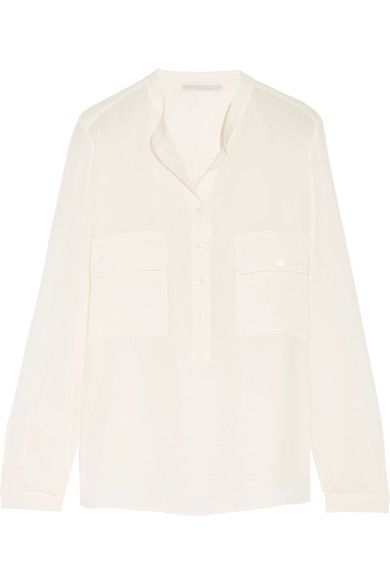 Stella McCartney's 'Estelle' blouse is made from silk crepe de chine that feels beautifully light and soft. Designed in a versatile cream hue, it's cut for a loose fit and detailed with patch pockets. Tuck yours into tailored pants and jeans alike.