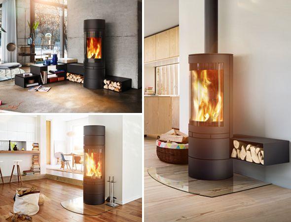 Modułowy kominek wolnostojący Elements Rund. Duża panoramiczna szyba oraz zastosowanie  innowacyjnej technologii polerowanej szyby, pozwala na podziwianie ognia z każdej perspektywy.