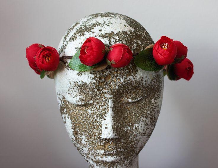Red roses headband, flower headband, wreaths, tiaras, hair accessory, bridesmaid hair accessories, flower girl hair accessories by PoshetByAnaNogueira on Etsy
