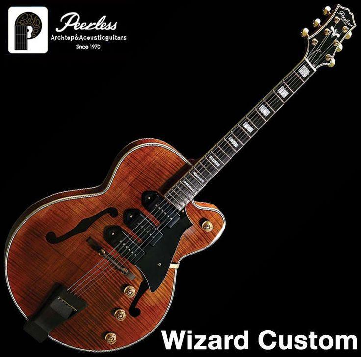 Peerless Wizard Custom Archtop Hollow Body Jazz Electric Guitar Flame Maple OHSC #Peerless