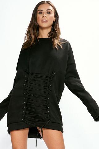 Arianna Black Corset Detail Jumper Dress