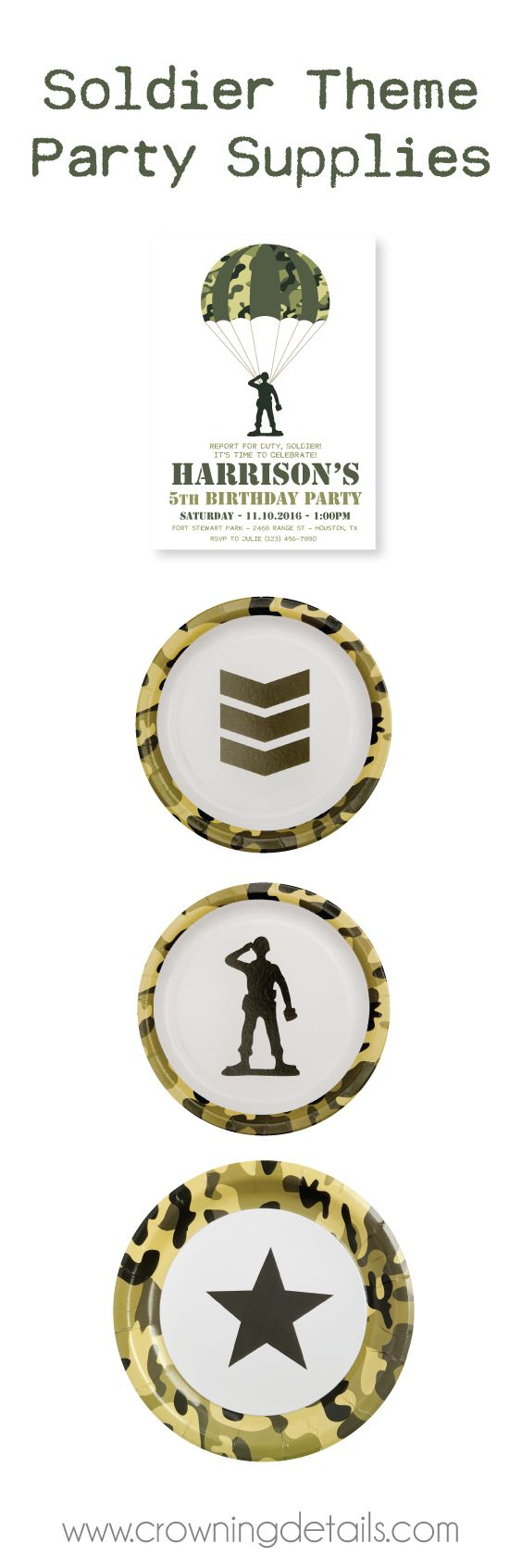 Camo party supplies for a toy soldier birthday party theme! Shop our collection of camo plates and printables in our online store!