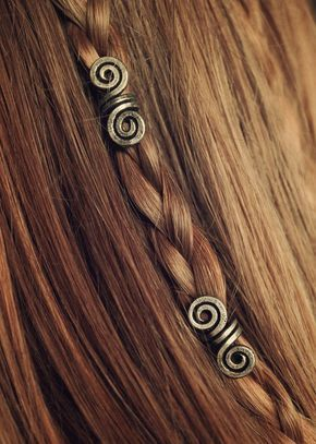 Jan 11, 2020 - Silver Aged Pair of Viking hair beads Hair beads by LoitsuCrafts