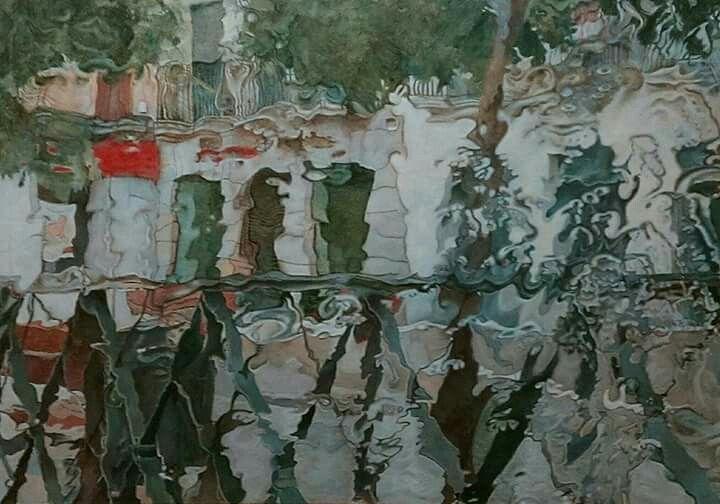 Cortina de agua en el parabrisas. Oleo sobre lino 114x168 cm