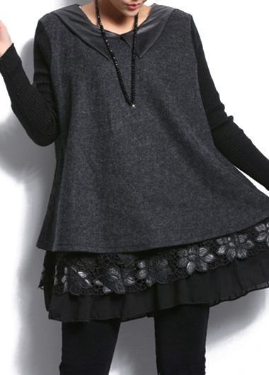 PU Collar Long Sleeve Lace Patchwork Blouse