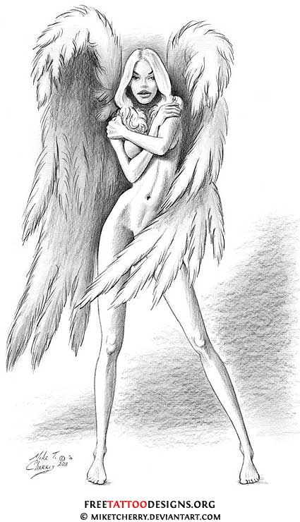 sexy angel tattoo | Often, angel tattoo designs are taken from classic art . There is a ...