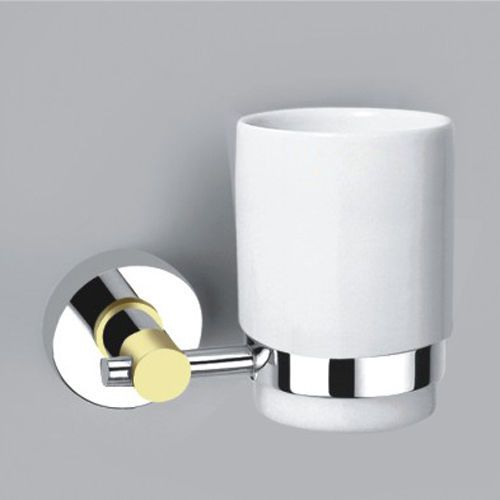 Modern Toothbrush Holder Chrome Finish Wall Mounted Bathroom Organizer Brass