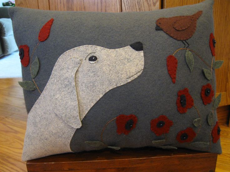 Puppy Dog and Bird Wool Applique Pillow.....Will by Justplainfolk