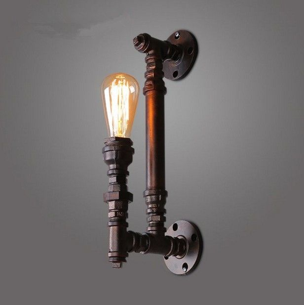 46.55$  Watch more here  - Vintage Wall Lamps Retro industrial METAL PIPE Edison Bulb Art Deco Wall Light Fitting