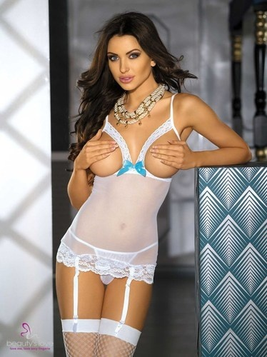 SEXY LINGERIE CUPLESS OPEN BUST WHITE MINI CHEMISE with FREE STOCKINGS $19.99 boobearblack.com