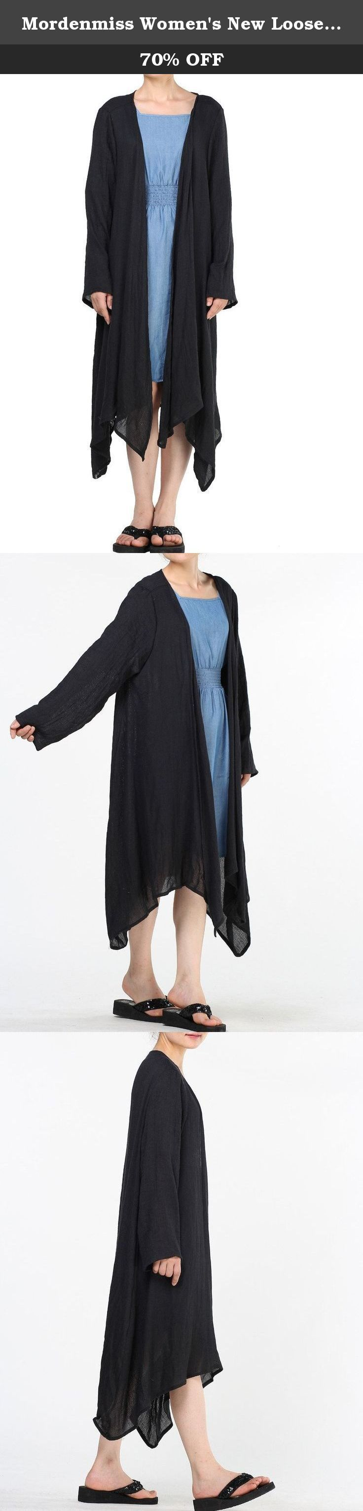 "Mordenmiss Women's New Loose Thin Garb Drape Open Front Cardigan L Long Sleeve Black. Mordenmiss has registered US Trademark ""Mordenmiss"" . This item is only provided by Mordenmiss, and did not authorize any second stores to sell our items. If other seller follow selling our items, please kindly notice us or report to Amazon directly. Mordenmiss only gurantee our quality, we do not guarantee the quality of other sellers. Size Information Size M : Length:37""-43"", Bust:47"", Sleeve…"