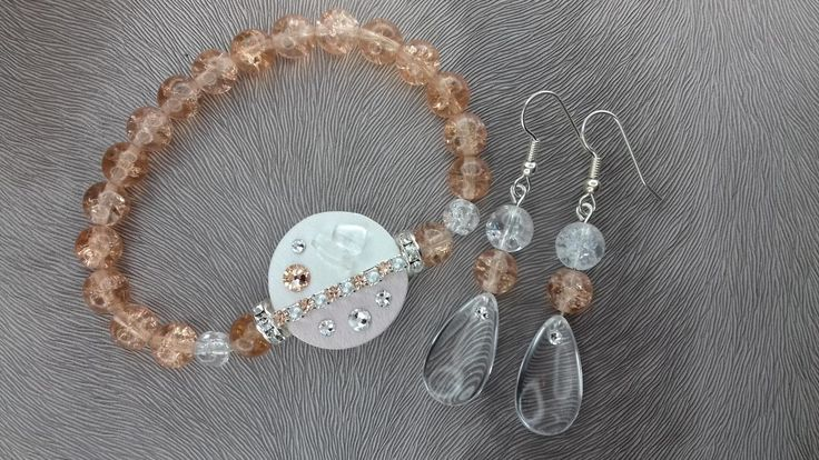 Bracelet and earrings#bracelet#earring#swarovski#crystal#leather fabric#pink#white#mineral#rondel#wedding#gold
