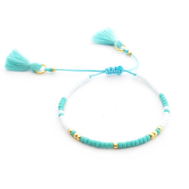 Minimal Bracelet | Turquise and White | Delicate Beaded Bracelet Made Of Seed Beads | Boho Bracelet Tassel | Handmade Jewelry | Toho Beads |