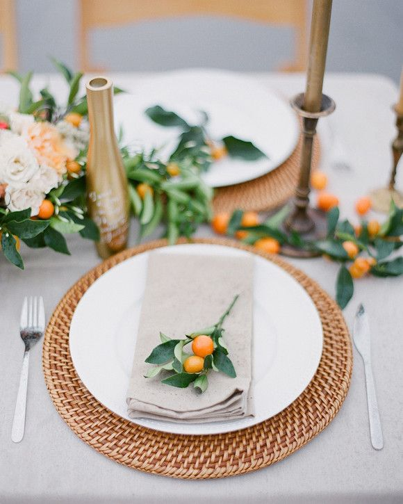 3 Flowers You Haven't Thought of Using in Your Wedding Centerpieces | Martha Stewart Weddings - Kumquat Branches: Marella loves the small-berried fruit at the end of the greens along with the small white flowers. The branches add a fun citrus element to your table décor—perfect for a summer or fall wedding!