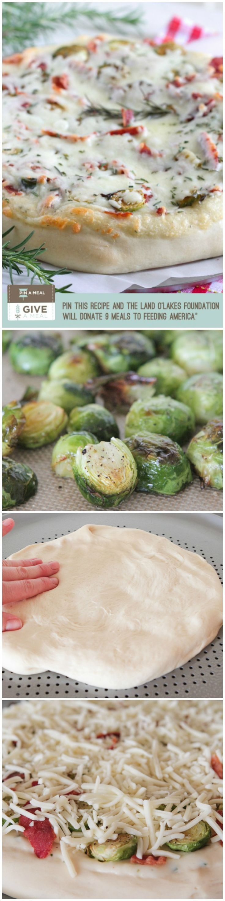 Parmesan Rosemary Brussels Sprouts and Bacon Pizza!  Re-Pin and 9 meals will be donated to Feeding America-May 31, 2014 #giveameal