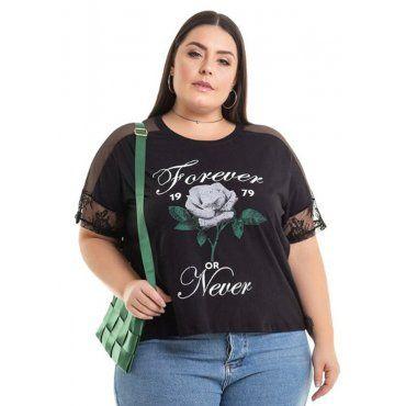4941e3a6e Blusa Meia Malha Preto com Estampa Miss Masy Plus Size   Moda Plus ...