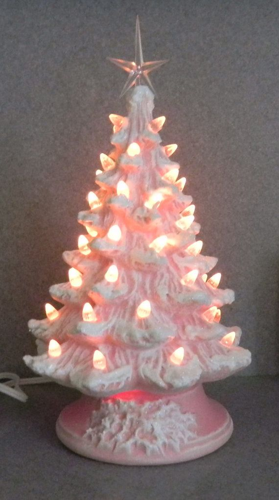 PINK Stained Christmas Tree 11 inches by SueSueSueCrafts on Etsy