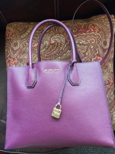 #MK #MickaelKors windowpub.com Michael Kors Handbag Medium Pebbled Plum Berry Purple MERCER Tote Sold Nice… #MK #MickaelKors windowpub.com