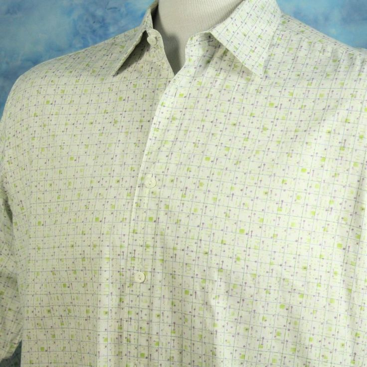 BUGATCHI Uomo Mens XL Black Label Purple Green Retro Mod Casual Dress Shirt #BugatchiUomo #ButtonFront