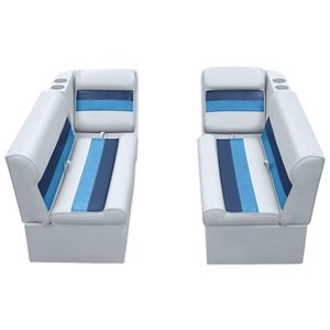 Wise Plastic Frame Deluxe Pontoon Furniture - Front Boat Group C - Gray/Navy/Blue