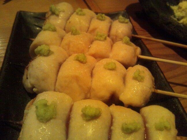Chicken breast meat yakitori with wasabi topping at Hiyoku-no-tori in Azabu.