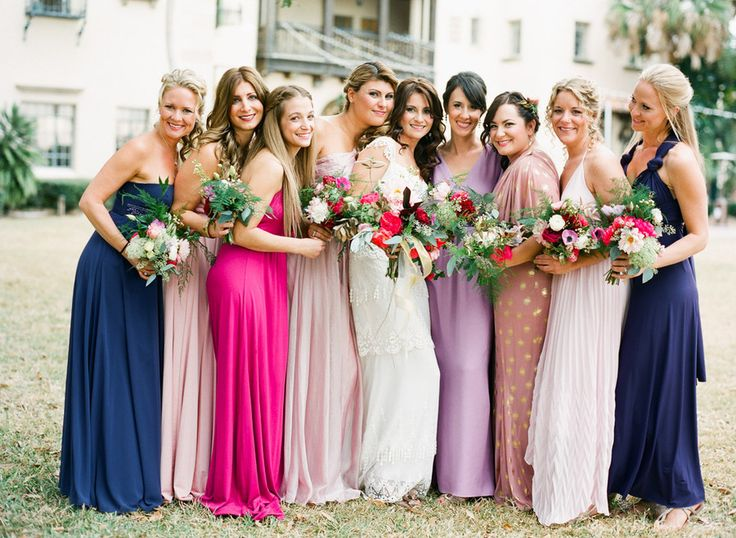Mismatched bridesmaids dresses | photography by Justin Demutiis