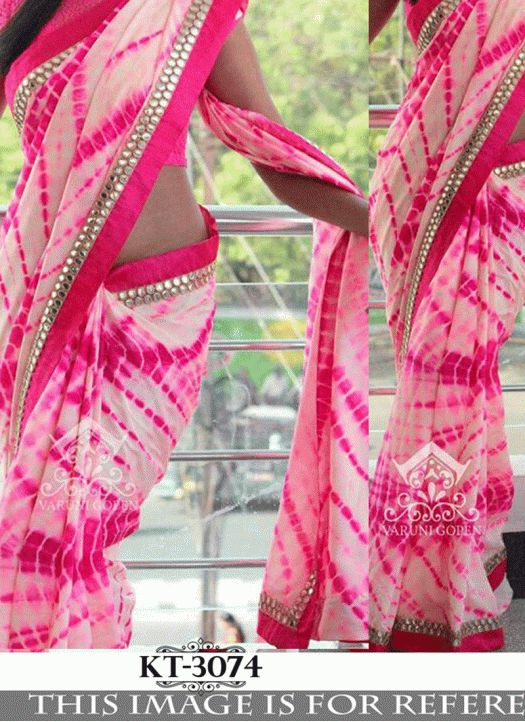 New Pink & White Weightless Georgette Printed Saree