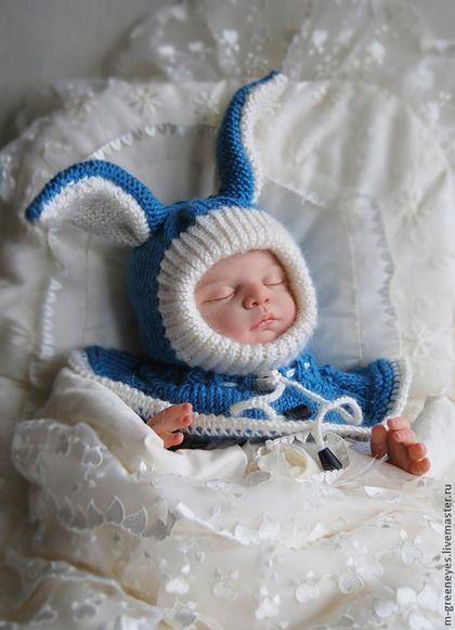"""Для новорожденных, ручной работы. Ярмарка Мастеров - ручная работа Шапка-шлем """"Джинсовый зайчик"""". Handmade."""