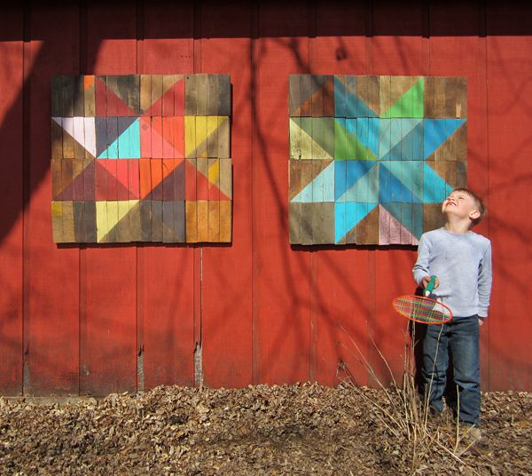 Who says quilting has to involve fabric? This mock-quilt artwork would make great decoration for inside or outside. Easy DIY kids project!