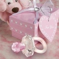 Geek | 1 Pc Fashion Crystal Pacifier Charm Pendant Girl Baby Shower Favors Pacifiers with Gift Box  Kids Christening Party Home Decor