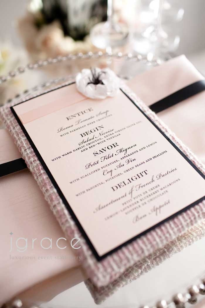331 best wedding invitation images on pinterest invitations chanel inspired wedding menu by j grace stopboris Image collections