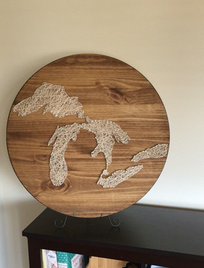 A personal favorite from my Etsy shop https://www.etsy.com/listing/277690502/the-great-lakes-string-art