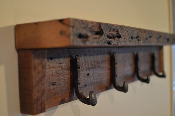 "Rustic coat rack, wall hanger with 6 railroad spike hooks, 30"" x 8 ..."