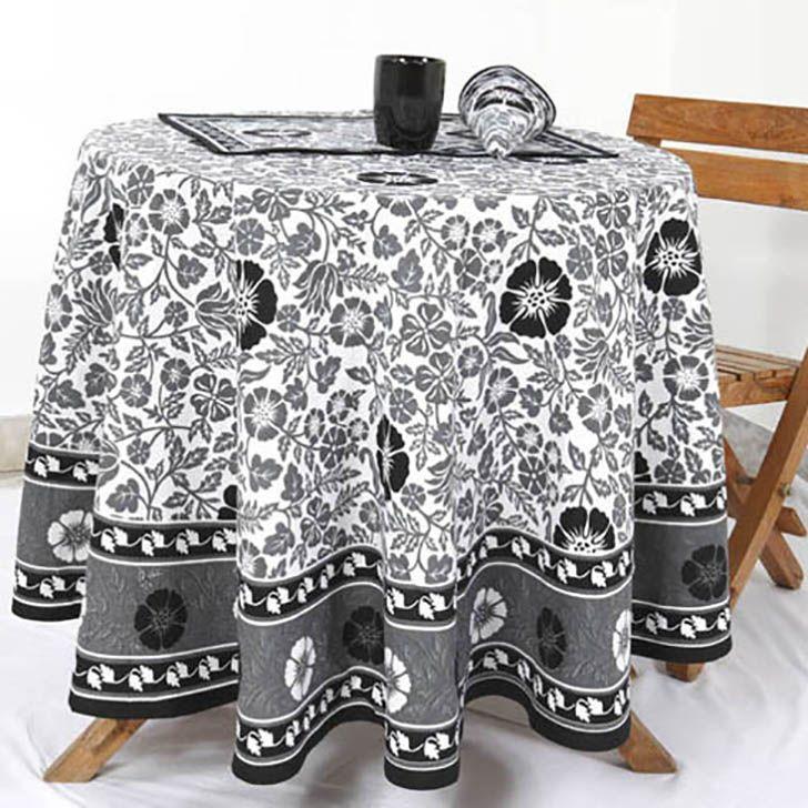 Fiore di lino nero Cotone Copertura Tavolo TB-7020Diameter :  177 CM | Arts of India – Italy