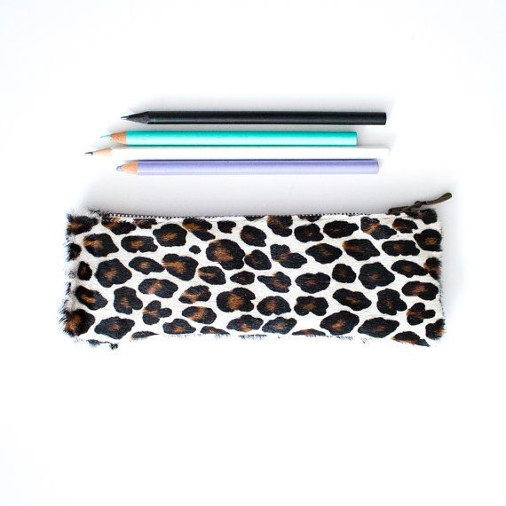 Leopard Leather Pencil Case Calf Hair Pen Pouch by gmaloudesigns