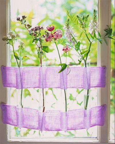 vitrage : zelfmaken bloemen raam vaas / curtain : create your own flower vase window