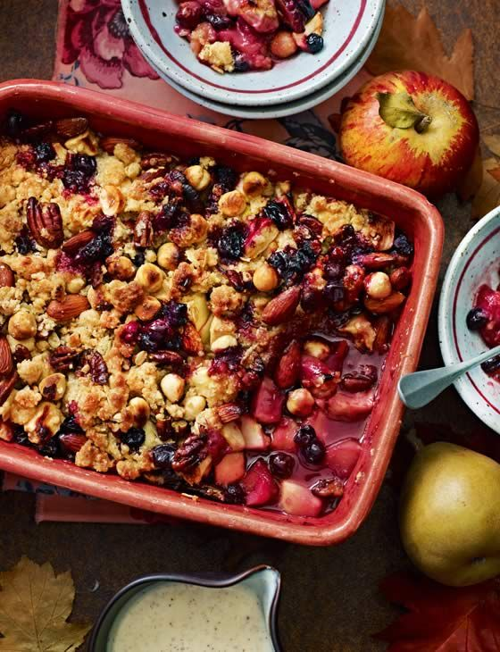 Apple and blueberry jumblenut crumble   This recipe serves 4 and is ready in 1 hour. A great pudding as temperatures begin to drop and you need something to warm yourself up.