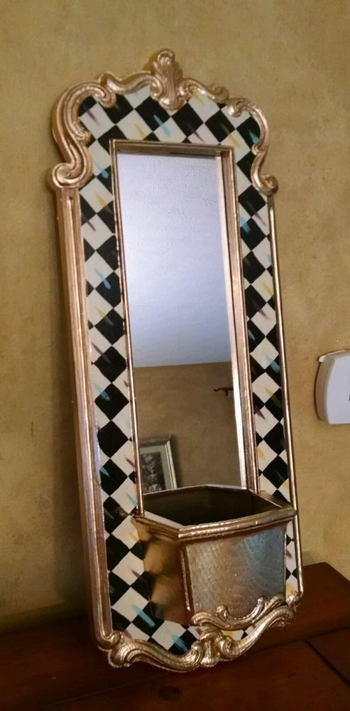 """Mackenzie Childs inspired 23 """" x 8.5"""" HP Whimsical Courtly parchment checkerboard check long mirror planter in Collectibles, Decorative Collectibles, Other Decorative Collectibles 