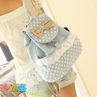 The cute bow tide doubles shoulder bag schoolbag high school students College Wind Japanese backpack Korean canvas bag L07-Taobao