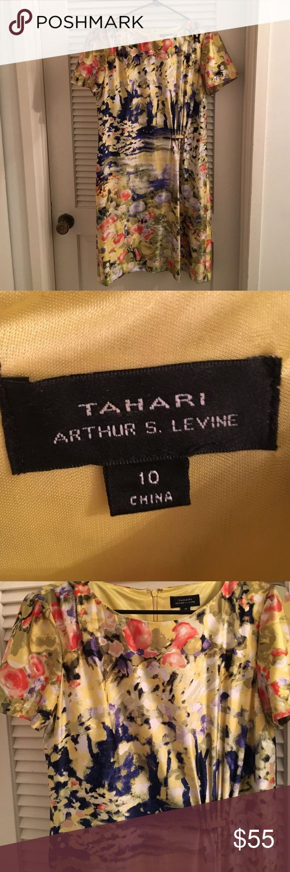 Never worn Yellow Tahari dress New without tags gorgeous happy Elle Tahari dress. Can be used for office attire, dressed up or just dressy casual. Looks really nice on but I haven't worn it and I'm clearing out my closet! Tahari Dresses Midi