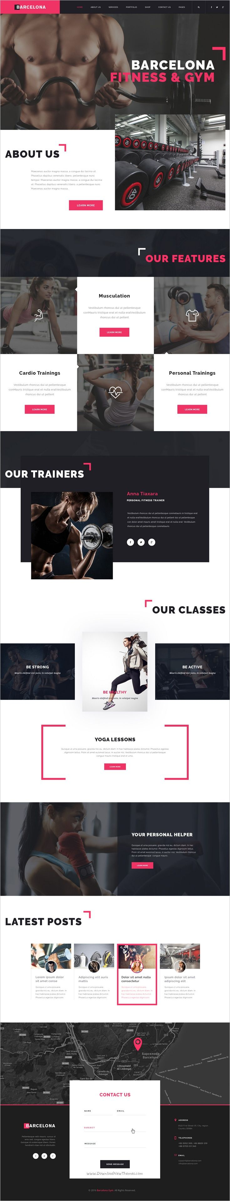 Barcelona is a clean, pixel perfect and modern #PSD Template suitable for #webdev Gym, #Fitness Center, Health #Clubs or Dance Studios website download now➩ https://themeforest.net/item/fitness-healthy-center-psd-template-barcelona/18655548?ref=Datasata