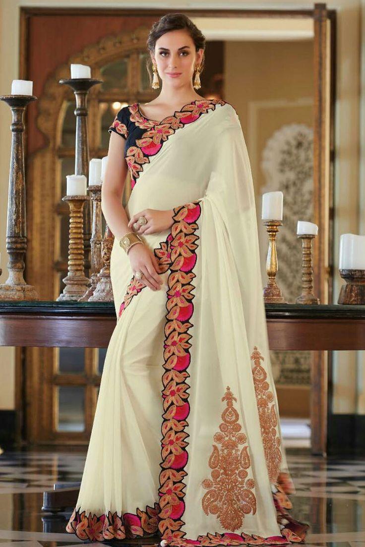 Ivory white georgette splendid saree with pink navy blue antique gold border -SR10836