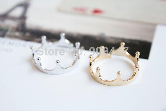 2016 Moda Pierścienie Mała Otwarta Srebrny Złoty Miedź Imperial Crown Princess Pierścień Biżuteria R081