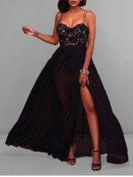 Lace Insert High Slit Maxi Party Evening Dress - BLACK