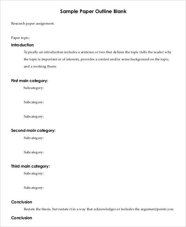 8 Printable Research Paper Outline Templates Research Paper