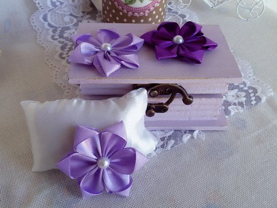 3 satin ribbon flowers purple fabric flowers ribbon by Rocreanique on Etsy