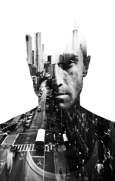 Double exposure New York city Art Print