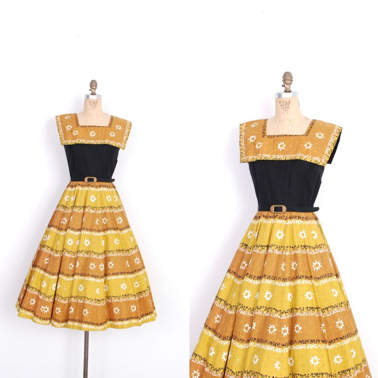 Vintage 1950s Dress / 50s Novelty Print Cotton Dress / Yellow and Black (XS extra small) by lapoubellevintage on Etsy https://www.etsy.com/listing/202320148/vintage-1950s-dress-50s-novelty-print