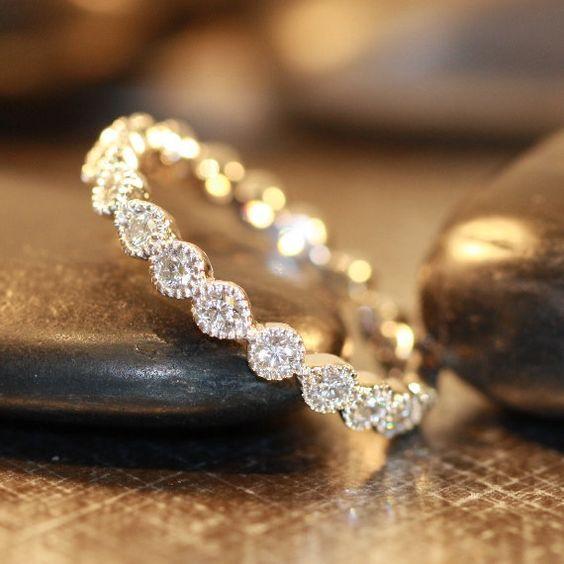 Vintage Inspired Bezel Set Diamond Wedding Ring by LaMoreDesign Even prettier wedding present!: